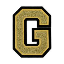"""4 1/2"""" Iron On / Heat Seal / Sew On Chenille Varsity Letter Patches for Letterman Jackets A-Z (G, Gold Metallic)"""