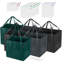 Syntus 15 Pack Reusable Grocery Mesh Produce Bag Set - 6 Foldable Fabric Totes Large Shopping Boxes with Inner Pocket Reinforced Bottom and 9 Eco-friendly Breathable See-through Mesh Produce Bags