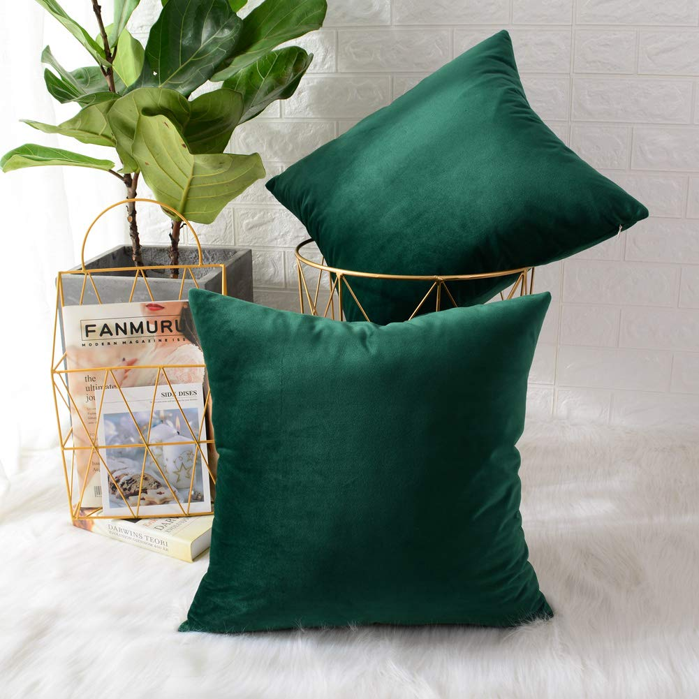 MERNETTE New Year/Christmas Decorations Velvet Soft Decorative Square Throw Pillow Cover Cushion Covers Pillowcase, Home Decor for Party/Xmas 22x22 Inch/55x55 cm, Dark Green, Set of 2