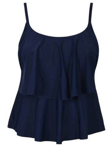 Hilor Women's Tiere Tankini Top Ruffle Swimwear Solid Swim Tops