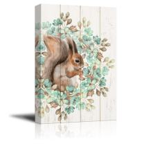 wall26 Canvas Wall Art - Retro Style Squirrel and Plant - Giclee Print Gallery Wrap Modern Home Decor Ready to Hang - 16x24 inches