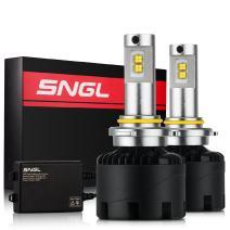 SNGL Super Bright LED Headlight Bulbs 9012 (HIR2) - 110w 12,400Lm - 6000K Bright White - For Dodge Ram Jeep Chrysler GMC Silverado