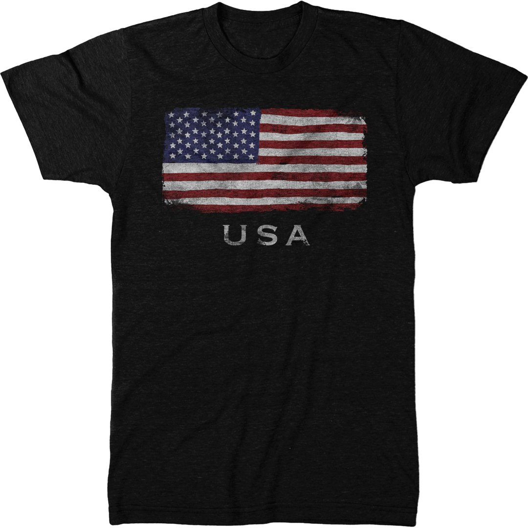 Distressed US Flag Stars &Stripes Men's Modern Fit Tri-Blend T-Shirt