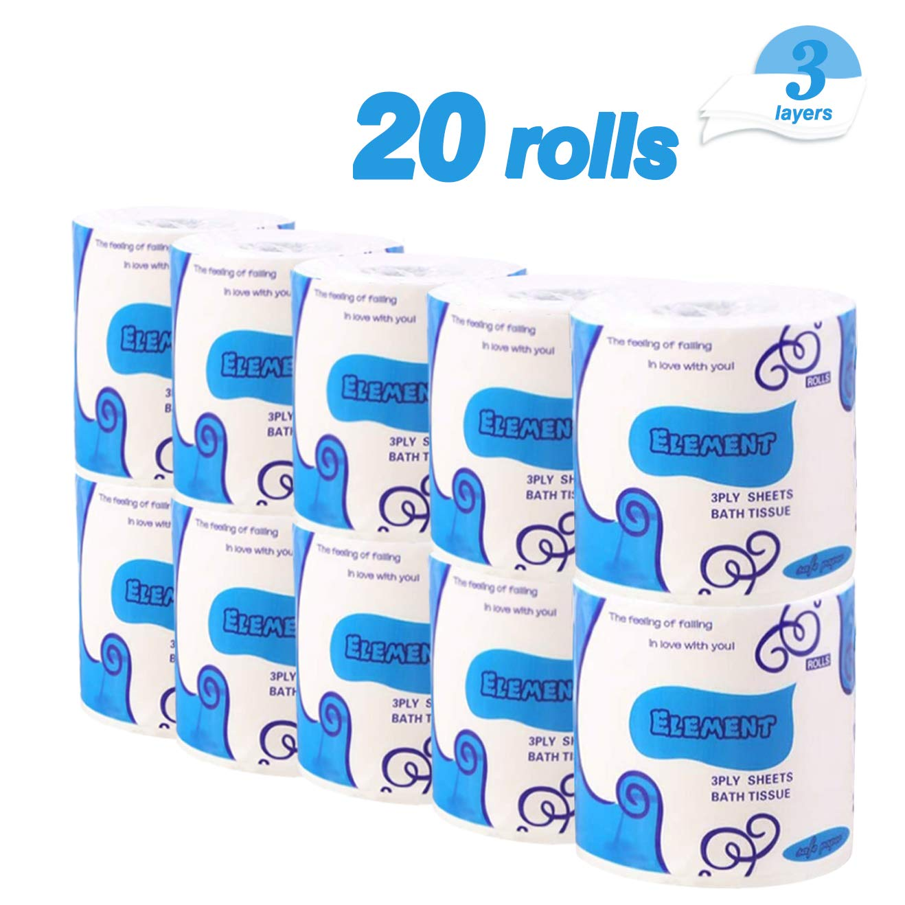 20 Rolls Toilet Paper 3-Ply Ultra Soft & Strong Paper Towels Highly Absorbent Flushable Household Towel Tissue for Home Kitchen Cafe Shop Hand Towels for Daily Use