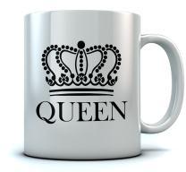 QUEEN Crown Coffee Mug Valentine's Day Gift/Wedding Gift/Couples Gift Mug 11 Oz. White