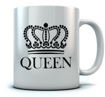 QUEEN Crown Coffee Mug Valentine's Day Gift/Wedding Gift/Couples Gift Mug 11 Oz. White