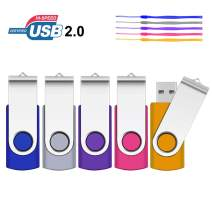 8GB USB Flash Drive, SRVR 5 Pack USB 2.0 Flash Drive Metal Swivel USB Memory Stick with LED Indicator, Fold Storage Thumb Drives Jump Drive with Lanyards (5 Colors)