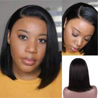 Short Bob Wigs Lace Front Human Hair Wig for Women Real Remy Brazilian Hair 13x6 Lace Frontal Pre Plucked Bleached Knots Glueless Middle Part Bob 180% Density Straight Thicken Even End Black 8 Inch