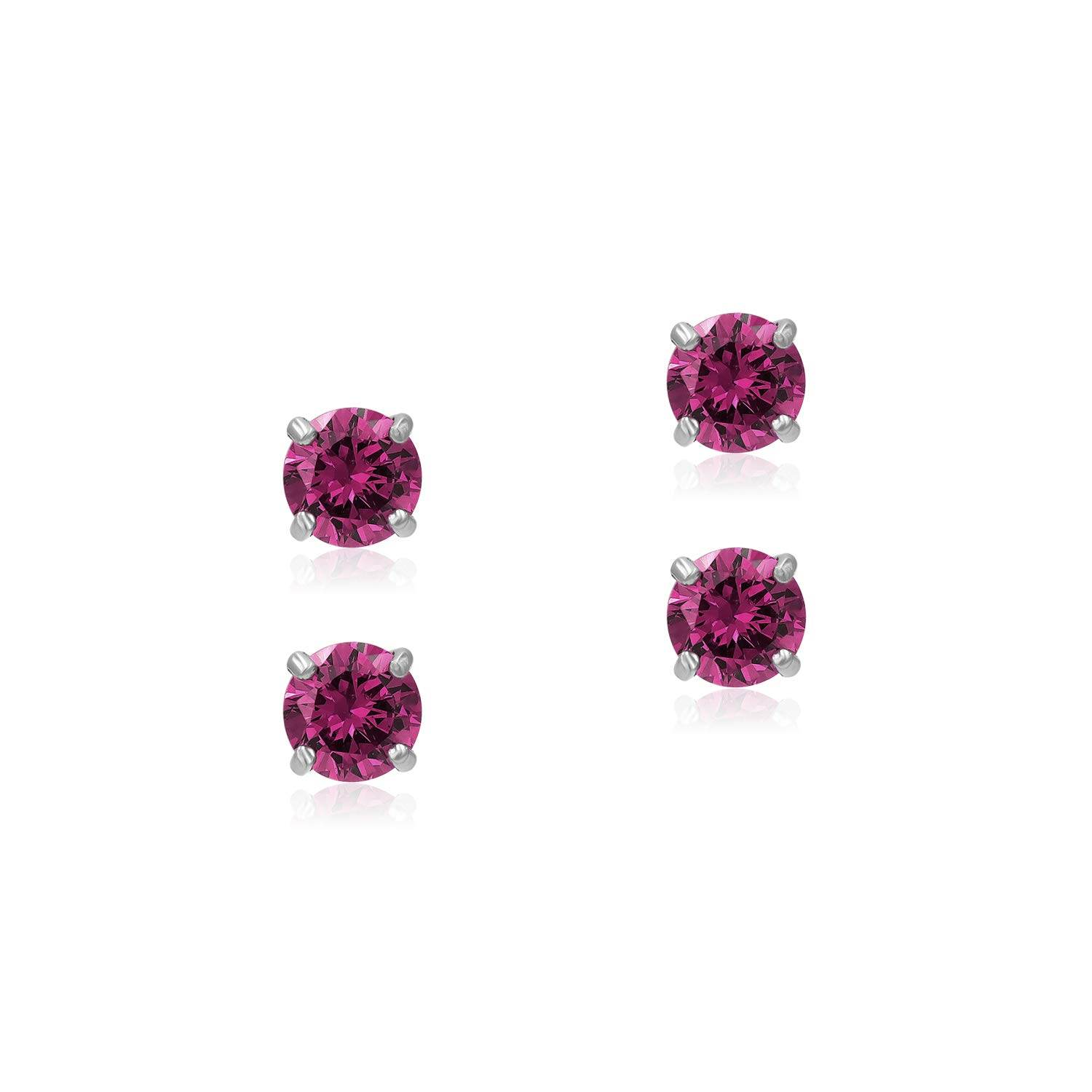 Sea of Ice White Gold Flashed 6mm Color CZ Cubic Zirconia Stud Earrings for Women and Girls