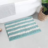 Seavish Luxury Chenille Bath Rugs, 19.5 x 31.5 Duck Egg Blue and White Shaggy Bathroom Rugs Mats, Non Slip Soft Comfortable Water Absorbent Machine Washable Bath Mat Thick Plush Carpet Mats