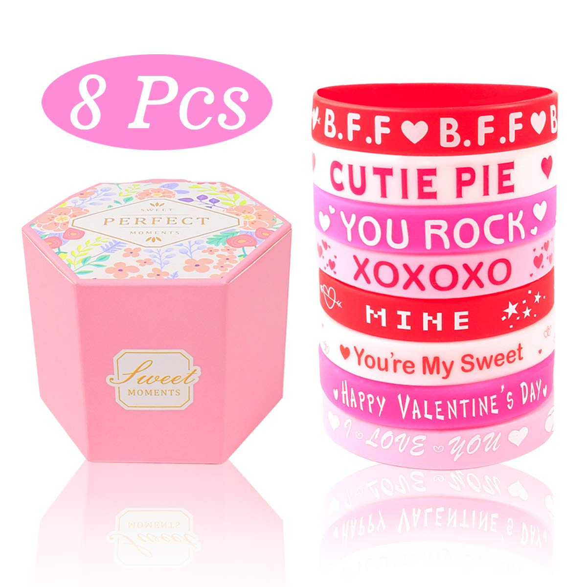 Valentines Day Gift for Kids with Rubber Wristband and Gift Box, Funny Favors Toys and School Classroom Party Supplies, Valentine's Silicone Bracelets Gifts for Kids Girls Toddler
