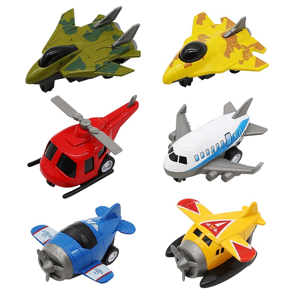 Set of 6 Pull Back Airplanes Vehicle Aircraft Playset Toys, Metal Military Themed Fighter Jets, Great Gift for Holiday Christmas Party Favor