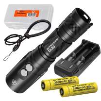 Nitecore DL20 100m Submersible 1000 Lumen Dive Light with Red Light and 2X Premium Rechargeable Batteries, UI2 Charger and LumenTac Battery Organizer