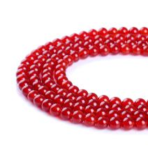 """Natural Stone Beads 6mm Red Agate Gemstone Round Loose Beads Crystal Energy Stone Healing Power for Jewelry Making DIY,1 Strand 15"""""""