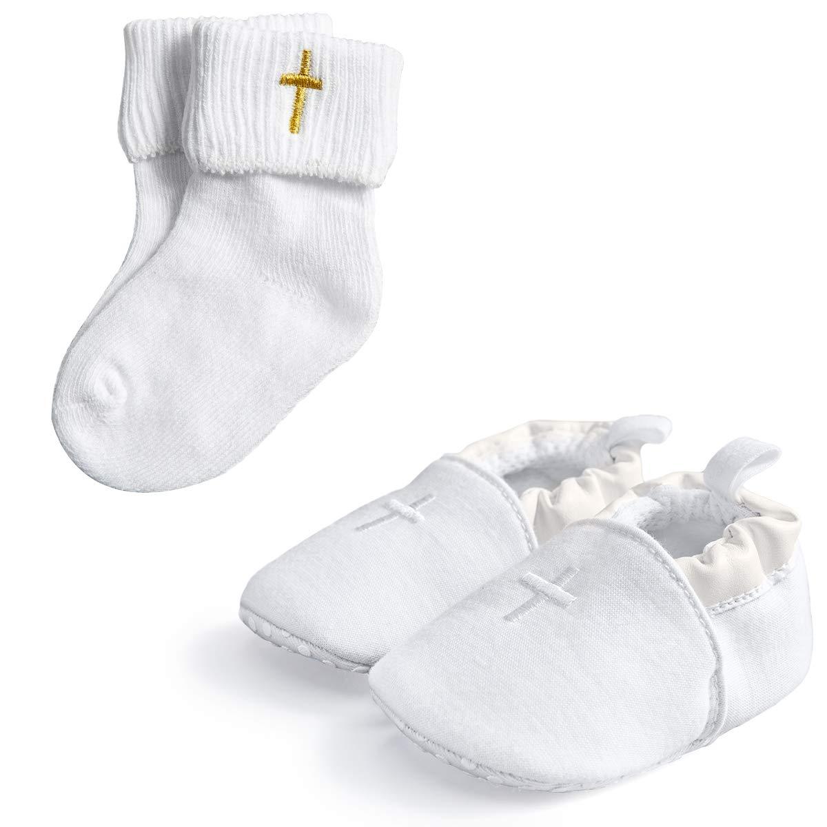 HAPIU Baby Baptism Cross Shoes with White Baptism Cross Socks,2 Pack,6-12M