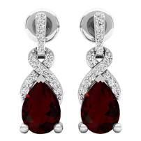 Dazzlingrock Collection 7X5 MM Each Pear Gemstone & Round Diamond Ladies Teardrop Drop Earrings, Sterling Silver