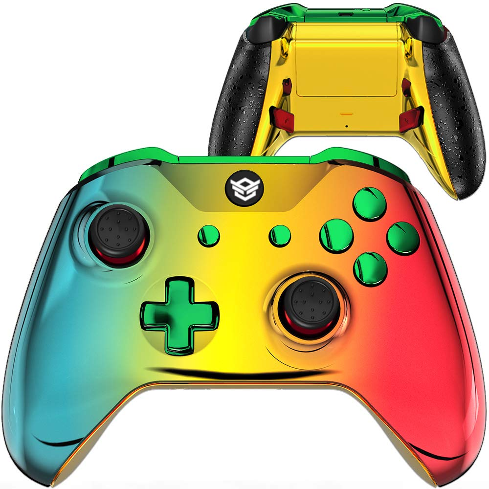 HexGaming Esports Blade Customized Controller for Xbox Series X/S, Xbox Elite Controller with 2 Paddles & Interchangeable Thumbsticks & Triggers Stop PC Wireless Gampad - Chrome Cyan Gold Red
