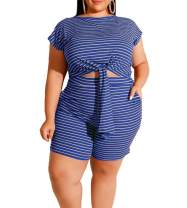 MAYFASEY Women's Sexy Stripe Plus Size 2 Piece Outfits Bodycon Shorts Set Tracksuit Athletic Clothing Set XL-5X