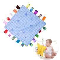 Baby Comfortable Blanket, Infant Teething Blanket Plush Teething Cloth Toys, Cute Baby Sleep Appease Towel Blanket with Tag, Blue