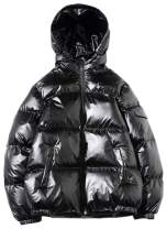 QZH.DUAO Men's Winter Padded Quilted Hooded Metallic Jacket