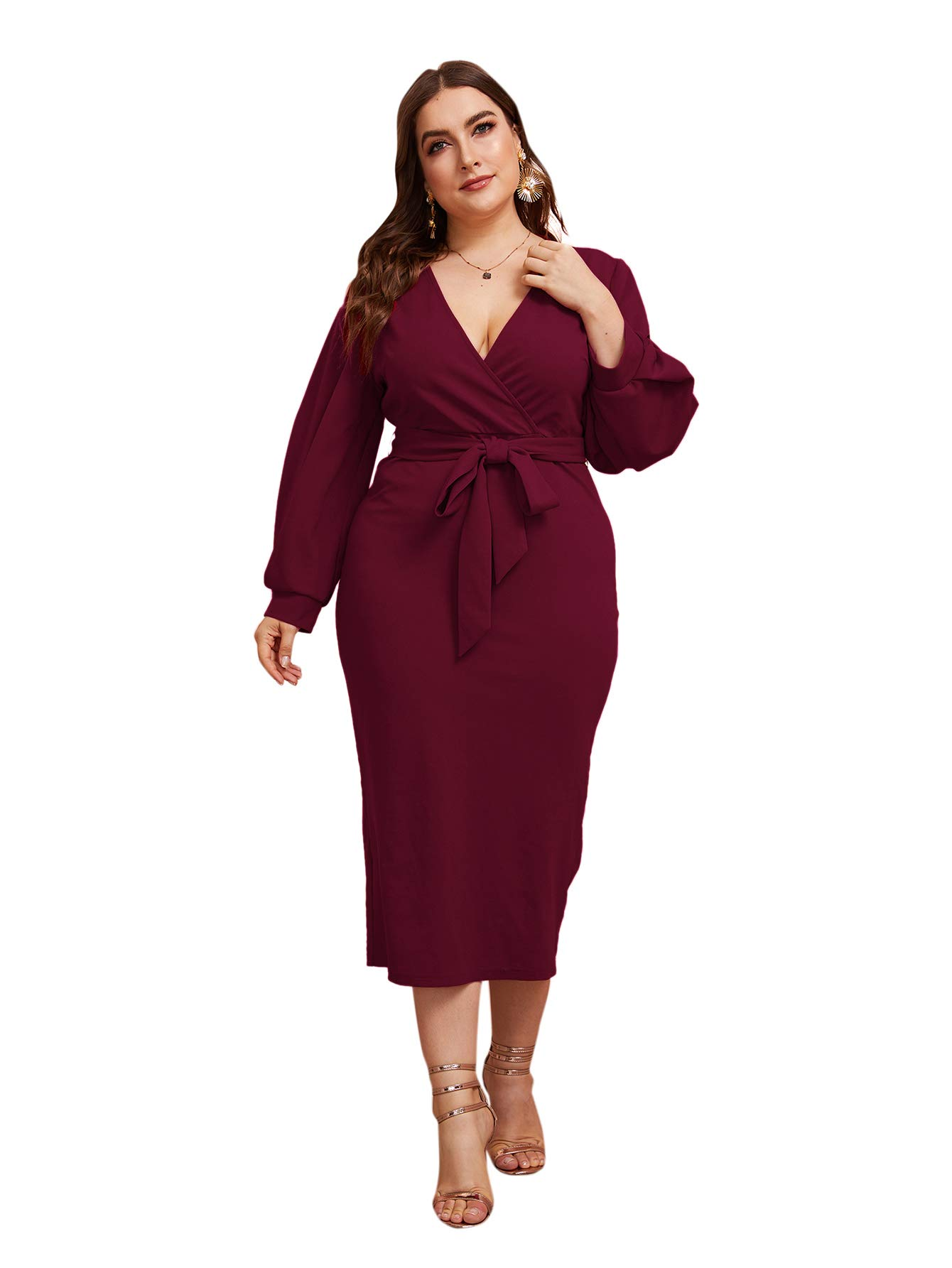 Verdusa Women's Plus Size Bishop Sleeve Plunging V Neck Belted Bodycon Dress Red 0XL