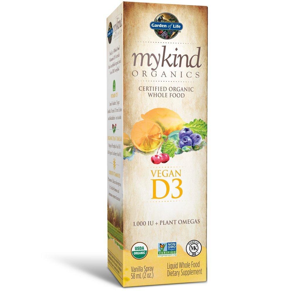 Garden of Life D3 Vitamin - mykind Organic Whole Food Vitamin D Supplement with Plant Omegas, Vegan, Vanilla, 2oz Liquid