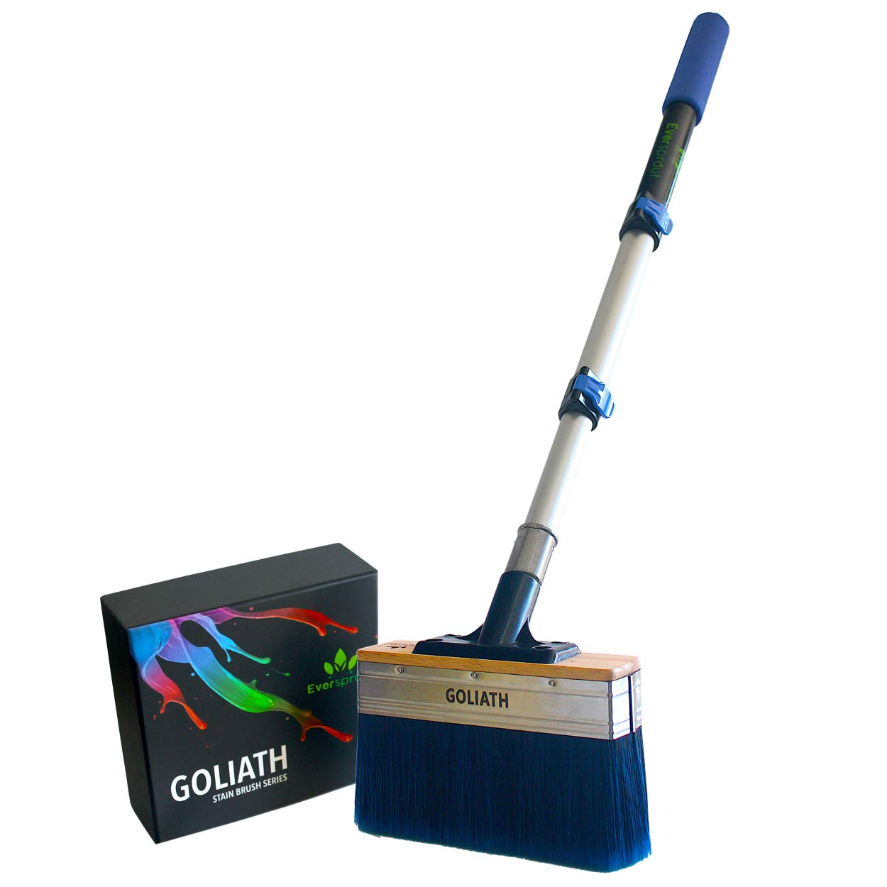 EVERSPROUT 1.5-3.5 Foot Goliath Deck Stain Brush & Extension Pole Combo | ULTRA WIDE 7-Inch Design Saves Time | Deck Stain Applicator for Wood, Composite, Concrete | +Bonus Cleaning Comb, Opener, Case