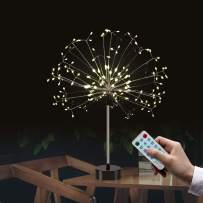 Auelife Firework String Lights,120 LED 4 Sounds 8 Mode Starburst Fairy Lights, Battery Operated(Not Include) DIY Twinkle String Lights for Christmas Bedroom Party Wedding Decoration (2pc, Warm White)