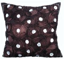 The HomeCentric Pillowcasewith Zipper, Decorative Pillow Covers 22x22 inch (55x55 cm) Brown, Silk Throw Pillow Covers, Handmade Pillow Covers - Wine Brown Flower