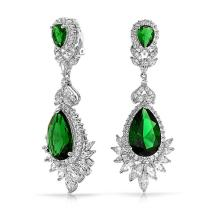 Art Deco Style Cubic Zirconia AAA CZ Chandelier Statement Dangle Clip On Earrings For women Silver Plated More Colors