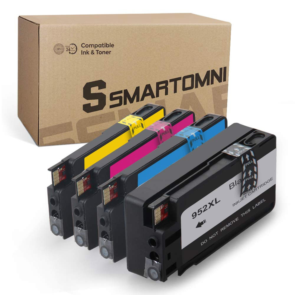 S SMARTOMNI Compatible Ink Cartridge Replacement for HP 952 952XL (Upgraded Chip, Black Cyan Magenta Yellow 4 Pack) for use in HP OfficeJet Pro 8720 8210 8710 7740 8715 7720 8730 8216 8725 8702 8740