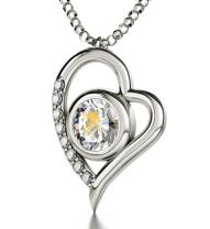 """925 Sterling Silver Aquarius Heart Necklace Zodiac Pendant for Birthdays 20th January to 18th February 24k Gold Inscribed with Star Sign and Symbol on Swarovski Crystal Stone, 18"""" Chain"""