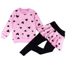 DDSOL Little Girls Clothing Set Outfit Heart Print Hoodie Top+Long Pantskirts 2pcs