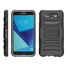 TurtleArmor   Compatible with Samsung Galaxy J7 2017 Case   J7 Prime   J7 Sky Pro [Hyper Shock] Armor Hybrid Cover Kickstand Impact Holster Belt Clip Sports and Games - Black