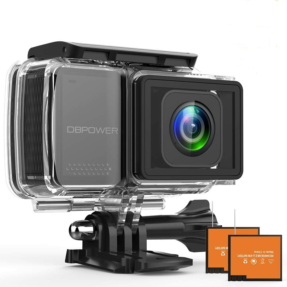 """DBPOWER EX7000 PRO 4K Action Camera 2.45"""" LCD Touchscreen Underwater Camera with 16MP Sony Image Sensor Waterproof Sports Cam and 170° Wide-Angle Lens 2X Rechargeable Batteries"""