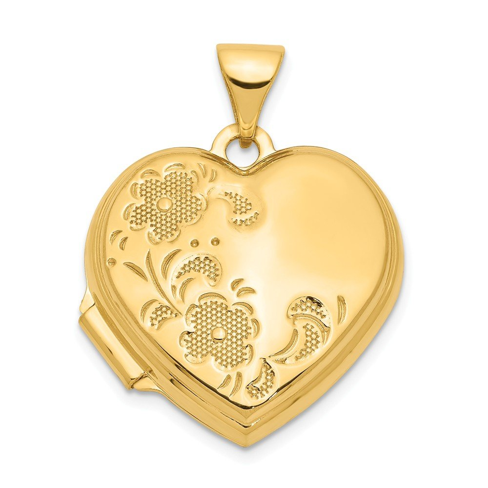14k Yellow Gold 18mm Heart Shaped Floral Photo Pendant Charm Locket Chain Necklace That Holds Pictures Fine Jewelry For Women Gifts For Her