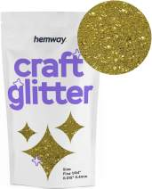 "Hemway Craft Glitter 100g 3.5oz FINE 1/64"" 0.015"" 0.4MM (Gold)"