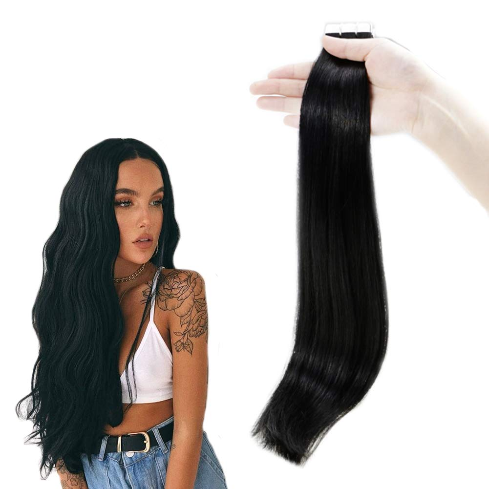 RUNATURE 20 Inches Seamless Tape in Hair Extensions Color 1 Jet Black 50g (20Pieces, 2.5g Per Piece) Skin Weft Human Hair Extensions for Women