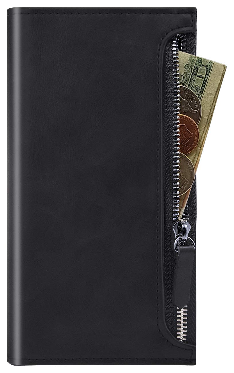 Qoosan iPhone 11 Pro Max Zipper Wallet Case, Leather Flip Cover with Card Holder - Black