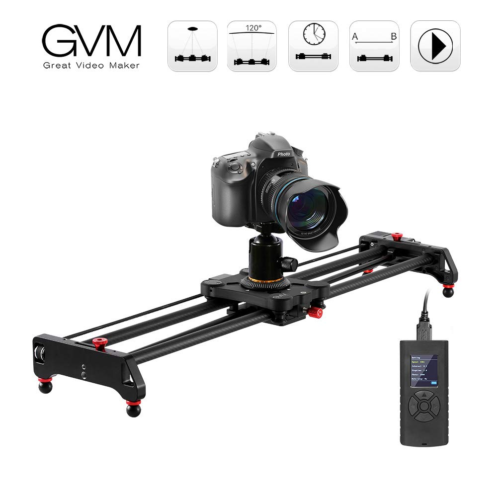 """GVM Motorized Camera Slider Track Dolly Sliders Rail System with Motorized Time Lapse and Video Shot, with Remote Controller, 120 Degree Panoramic Shooting 49"""" 120cm"""