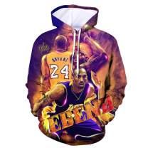 Ko_be Bryant Hoodie No.24 Tribute Men's Hooded Long Sleeve Pullover 3D Printed Sweatshirt