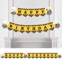 Big Dot of Happiness Dig It - Construction Party Zone - Birthday Party Bunting Banner - Birthday Party Decorations - Happy Birthday