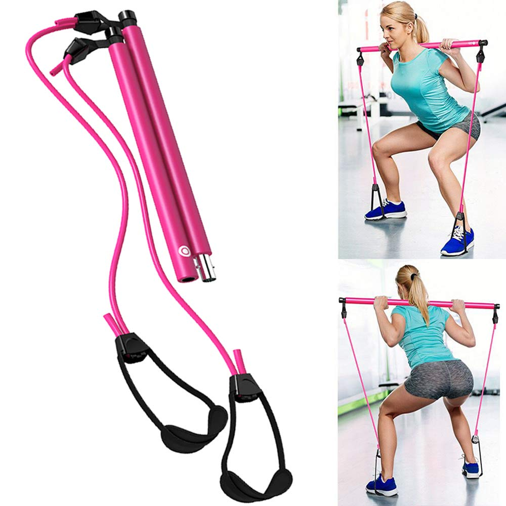 Wastou Pilates Bar, Portable Pilates Bar Kit with Adjustable Resistance Band for Different Height, Home Gym Exercise Stick Yoga Bar with Foot Loop for Hipsline, Stretching, Muscle Toning