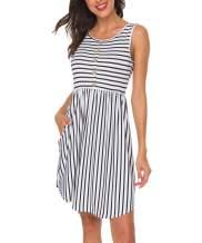 INWECH Women's Casual Sleeveless Front Button T-Shirt Dress Mini Round Neck Striped Summer Tank Dress with Pockets