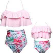Uhnice Girls Swimsuit High Waisted Two Pieces Bikini Set Swimwear Bathing Suits