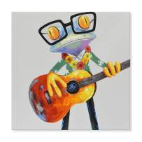 JAPO ART - 100% Hand Painted Oil Painting Funny Animal with Stretched Frame Wall Art for Living Room Ready to Hang (Hawaiian Frogs Play Guitar, 32 x 32 Inch)
