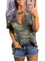 BLENCOT Womens Print Choker Tops Short Sleeve Casual Loose Tee Blouses Shirt
