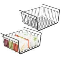 mDesign Household Metal Under Shelf Hanging Storage Bin Basket with Open Front for Organizing Kitchen Cabinets, Cupboards, Pantries, Shelves - Large, 2 Pack - Black