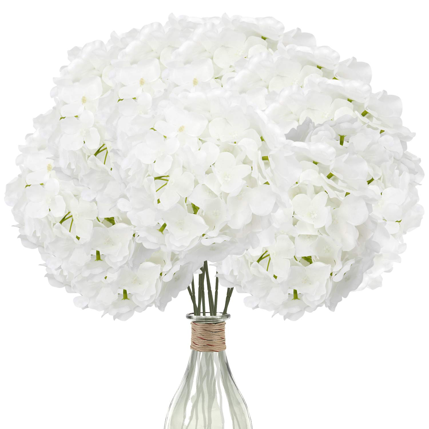 Elfii 10 Pack Silk Hydrangea Heads Artificial Flowers Heads with Stems for Home Wedding Party Decor Bride Holding Flowers Bouquet Baby Shower Decoration Centerpiece DIY Wreath Craft -Pure White