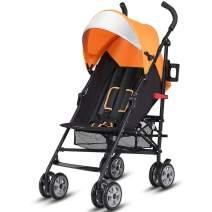 BABY JOY Lightweight Stroller, Aluminum Baby Umbrella Convenience Stroller, Travel Foldable Design with Oxford Canopy/ 5-Point Harness/Cup Holder/Storage Basket,Orange